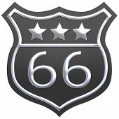 Us Route 66 Sign, Route Sixty Six Road Shield Sign With Route Number And Textretro Style. 3d Render poster