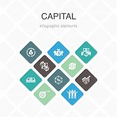 Capital Infographic 10 Option Color Design.dividends, Money, Investment, Success Simple Icons poster