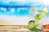 foto of mojito  - Fresh summer cocktail on wooden table - JPG