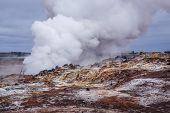 Geothermal Area Called Gunnuhver Located At Reykjanes Peninsula In Iceland poster