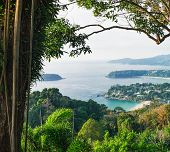 View Of Karon Beaches From Karon Viewpoint. Famous Viewpoint In Phuket, Thailand. Picturesque Top Vi poster
