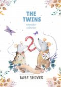 Cute Watercolor Twins Mouse Birthday Greeting Cards, Posters For Baby Room, Baby Shower, Invite, Kid poster