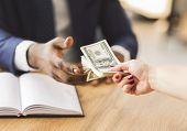 Corrupted Entrepreneur Making Black Deal, Taking Venality Bribe Money, Corruption Concept poster