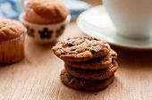 Chocolate chip cookies with cup of coffee