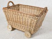Wicker box on wheels