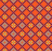 Aztec Geometric Seamless Blue Pattern Pixel Blocks Shapes Texture. Bright Colors Vector Fabric Backg poster