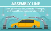 Car Assembly Line Concept Banner. Flat Illustration Of Car Assembly Line Vector Concept Banner For W poster