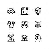 Simple Set Of Ecology Vector Line Icons Including Electric Car, Charging Station, Eco Bulb, Eco Plug poster