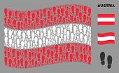 Waving Austria Flag. Vector Boot Footprints Icons Are Combined Into Conceptual Austria Flag Abstract poster