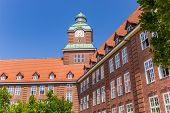 Historic Building Of The Old Gymnasium School In Flensburg, Germany poster