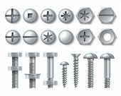 Metal Bolt And Screw. Realistic Steel Nails, Rivets And Stainless Self-tapping Screw Heads With Nuts poster