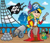 Tema de convés de navio do pirata 9 - ilustração do vetor.