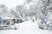 Snow Winter Landscape Countryside Scene With English Countryside In Heavy Snow Storm poster