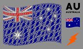 Waving Australia Flag. Vector Electric Spark Icons Are Placed Into Mosaic Australia Flag Collage. Pa poster