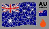 Waving Australia State Flag. Vector Fire Flame Items Are Organized Into Conceptual Australia Flag Ab poster