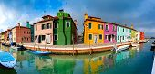 Panoramic View Of Canal With Colorful Houses And Boats On The Famous Venetian Island Burano, Venice, poster