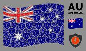 Waving Australia State Flag. Vector Electric Guard Design Elements Are Organized Into Conceptual Aus poster