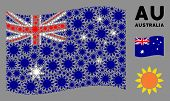 Waving Australia State Flag. Vector Sun Elements Are Combined Into Mosaic Australia Flag Illustratio poster