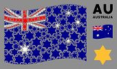 Waving Australia Official Flag. Vector Six Pointed Star Elements Are Combined Into Geometric Austral poster