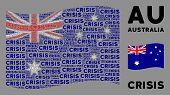 Waving Australia Flag. Vector Crisis Text Design Elements Are United Into Conceptual Australia Flag  poster