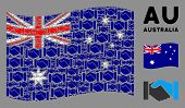 Waving Australia State Flag. Vector Handshake Elements Are Organized Into Geometric Australia Flag C poster