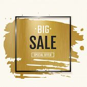 Gold Ink Brush With Frame. Black Square Background With Golden Foil Texture And Paint Splash Element poster