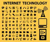 100 internet technology icons set, vector