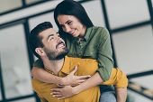 Closeup Photo Of Handsome Husband Guy And His Wife Lady Spending Honeymoon In Modern Luxury Country  poster