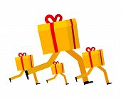 Gift Box Runs. Gift Delivery. Christmas Present Running. Xmas And New Year Vector Illustration poster
