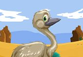 Aussie emu in the outback - EPS VECTOR format also available in my portfolio.