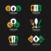 Indian Food Icons. Indian Flag Symbols Spoon Fork And Knife Icons poster