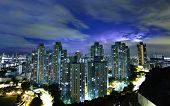 Hong Kong downtown with strom lighting