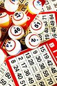 Bingo balls & cards, vertical, cross processed