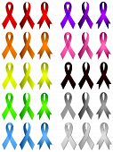 stock photo of breast-cancer  - Memorial ribbons in 3 styles and many colors - JPG