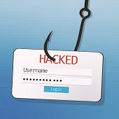 Internet Phishing Concept. Hook With Username And Password Tag On Blue Background. poster