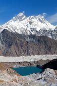 View Of Everest, Lhotse, Ngozumba Glacier And Gokyo Lake From Renjo La Pass - Way To Everest Base Ca poster
