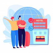 Couple Booking Hotel Room Webpage. Baggage, Suitcase, Calendar, Globe. Business Concept. Vector Illu poster
