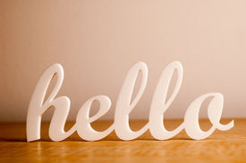 picture of cursive  - Cursive Hello Greeting on a Wooden Board - JPG