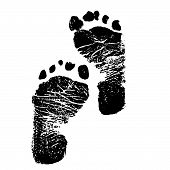 image of premature  - Actual baby foot prints on white background.