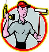 House Painter Paint Roller Handyman Cartoon