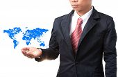 Business Man And Hand Holding World Map Of Data And Information