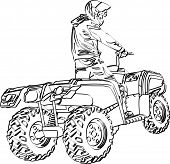 ATV Off-Road Rider silueta saltando en a la puesta del sol