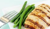 picture of green-beans  - Grilled chicken breast with green beans on a white plate - JPG
