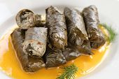 dolma, stuffed grape leaves with egg lemon sauce, turkish and greek cuisine
