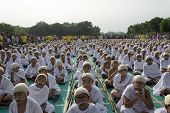 Young Children Sitting Dressed Up As Gandhi For World Record