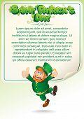 Saint Patrick's Day. Party Background with Joyful Drunken Leprechaun. Poster for Your Text, Design.
