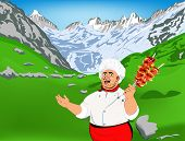 Funny Chef and delicious hot skewers of lamb.Mountain landscape
