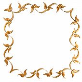 Abstract Golden Floral Frame Concept Over White Background