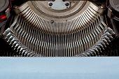 Retro Typewriter Close Up Keys Mechanism