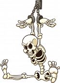 Shackled skeleton. Vector clip art illustration with simple gradients. All in a single layer.